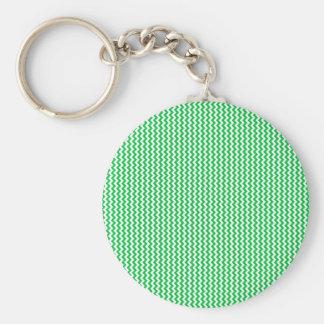 Vert en pastel blanc et foncé de zigzag - porte-clés