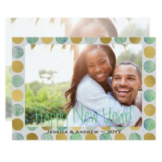 Vert et bonne année de points d'aquarelle d'or carton d'invitation  12,7 cm x 17,78 cm