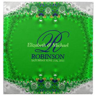 Vert et serviette argentée de mariage de