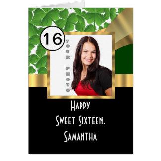 Vert et sweet sixteen personnalisé par or carte de vœux
