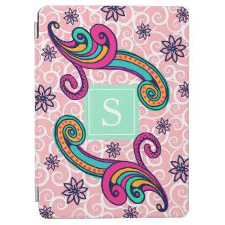 Vert floral assez rose de menthe de monogramme de protection iPad pro