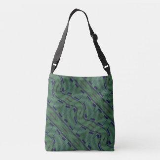 Vert géométrique avec l'abrégé sur bleu formes sac