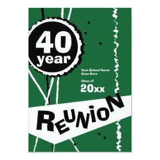 Vert invitation de la Réunion de classe de 40 ans