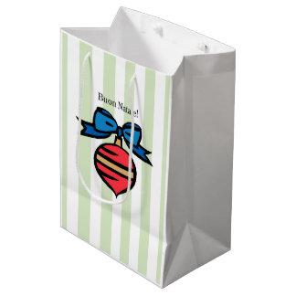 Vert moyen de sac à provisions d'ornement rouge de