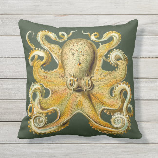 Vert nautique d'or de coussin de décor de poulpe