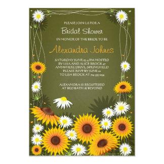 Vert nuptiale floral de douche de tournesols et de carton d'invitation  12,7 cm x 17,78 cm