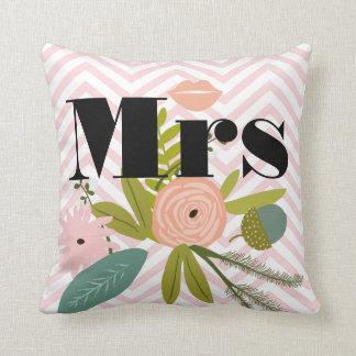 Vert Teal de zigzag de Mme Lips Pinky Peach floral Oreiller