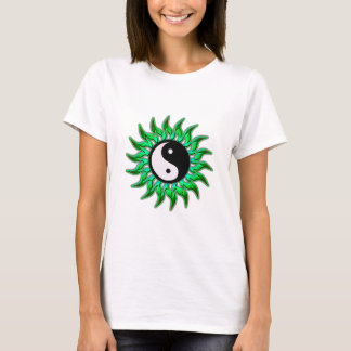 Vert vert flambant Yin Yang Sun T-shirt