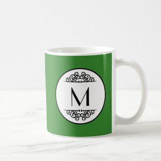 Vert vintage de monogramme - tasse