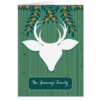 Verts rustiques de vacances de cerfs communs de carte de vœux