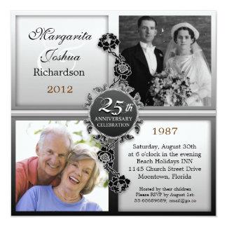 verzilver 25ste de foto'suitnodigingen van de 13,3x13,3 vierkante uitnodiging kaart