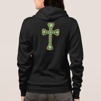 """Veste À Capuche Croix chrétienne avec des pierres de """"Peridot"""""""