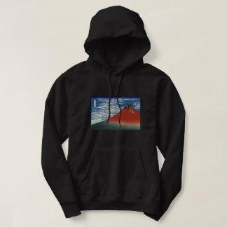 Veste À Capuche Hokusai Fuji rouge, vent du sud, ciel clair