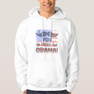 Veste À Capuche Moustache I vous à voter pour Obama