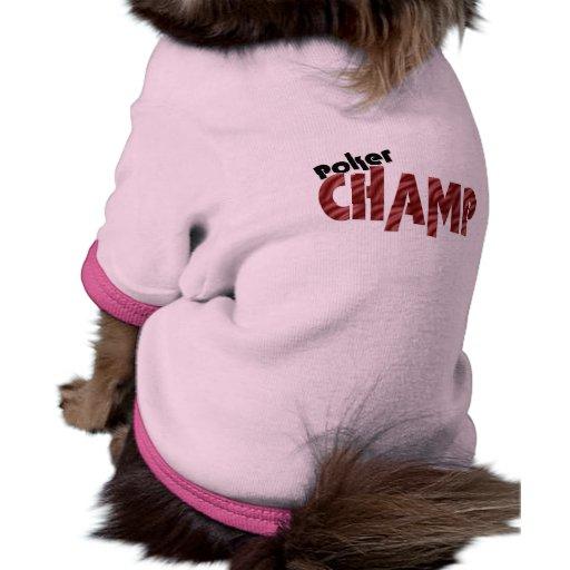 Vêtements de chien de champion de champion de tiso manteau pour toutous