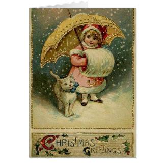 Victoriaans Kind en Kat in de Kerstkaart van de Briefkaarten 0