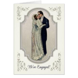 Victoriaans Paar in het Verloving van de Kleding Kaart
