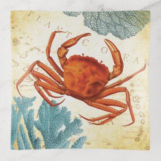 Vide-poche Corail rouge coloré tropical de crabe