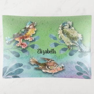 Vide-poche Monogramme rustique d'oiseaux de nature