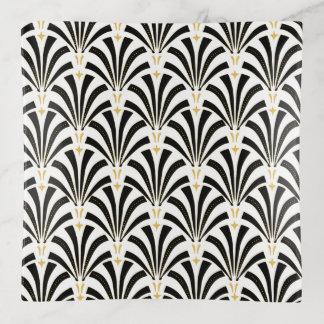 Vide-poche Palmettos noirs et blancs d'art déco des années