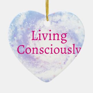Vie consciemment ornement cœur en céramique