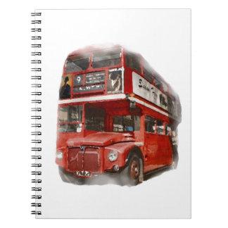 Vieil autobus rouge de Londres Carnets