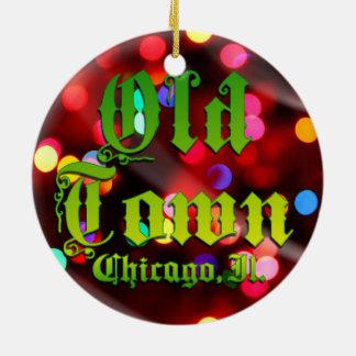 Vieil ornement de cercle de Chicago de ville