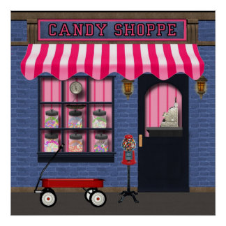 Vieille affiche de magasin de sucrerie de mode poster
