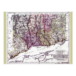 Vieille carte 1796 du Connecticut