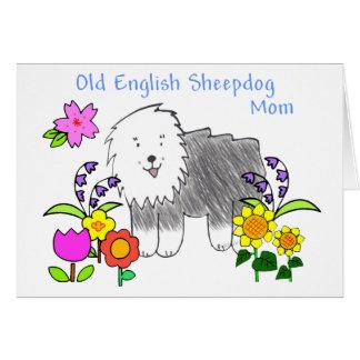 Vieille carte anglaise de maman de chien de berger