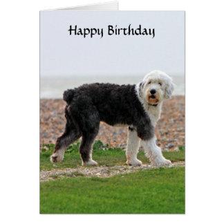 Vieille carte d'anniversaire anglaise de chien de