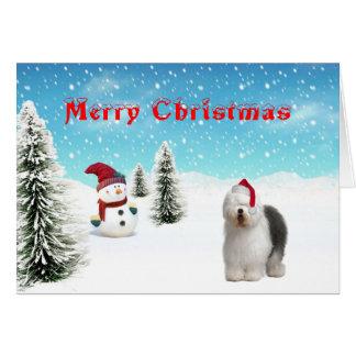 Vieille carte de Noël anglaise de chien de berger