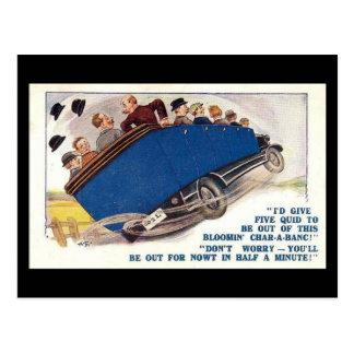 Vieille carte postale comique - Char-un-banc