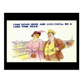 Vieille carte postale comique - un long temps mort