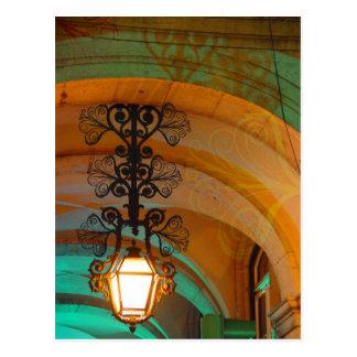 Vieille carte postale de lampe de Lisbonne