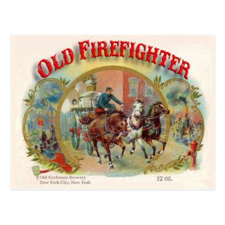 Vieille carte postale de sapeur-pompier d'ère