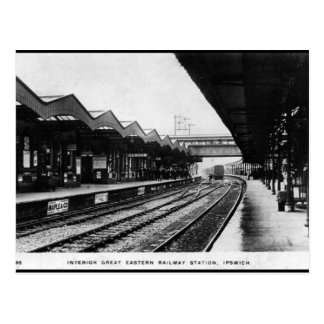 Vieille carte postale - gare ferroviaire d'Ipswich