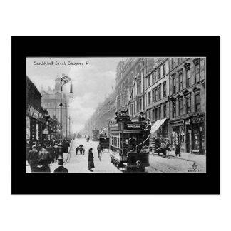 Vieille carte postale, Glasgow, rue de Sauchiehall