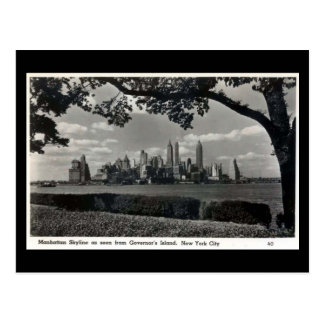 Vieille carte postale - horizon de Manhattan