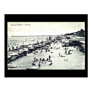 Vieille carte postale - plage de Pescara