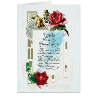 Vieille-Fashoned carte de voeux chaleureuse