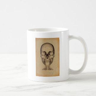Vieille illustration de crâne mug blanc