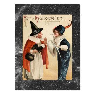 Vieille sorcière vintage de Halloween et Madame Carte Postale