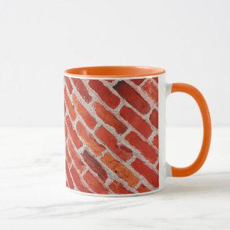 Vieille tasse de café de motif de mur de briques