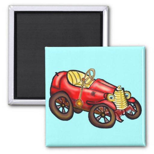 Vieille voiture rouge magnets pour réfrigérateur