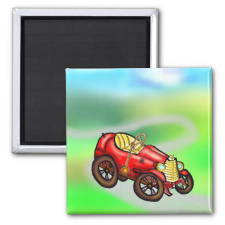 Vieille voiture rouge magnets