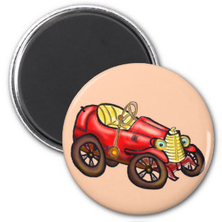 Vieille voiture rouge magnet rond 8 cm
