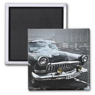 Vieille voiture russe magnet carré