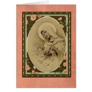 Vierge Marie béni avec la carte de roses de pêche