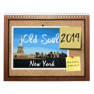 Vieux calendrier 2014 de New York d'âme